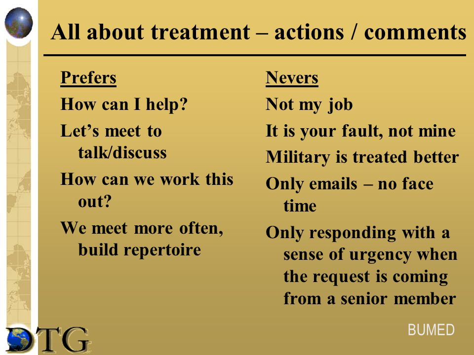All about treatment – actions / comments