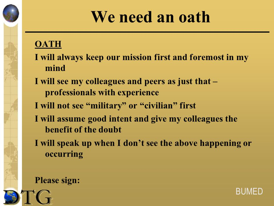 We need an oath