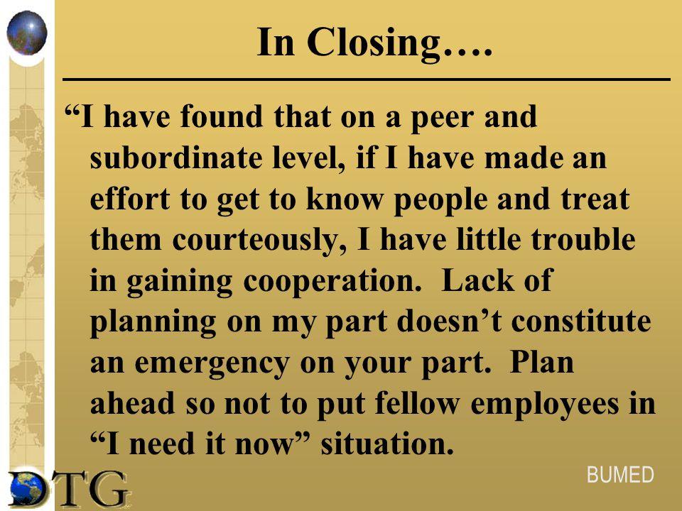 In Closing….