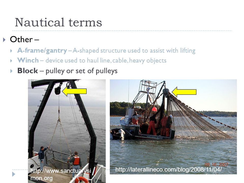 Nautical terms Other – Block – pulley or set of pulleys