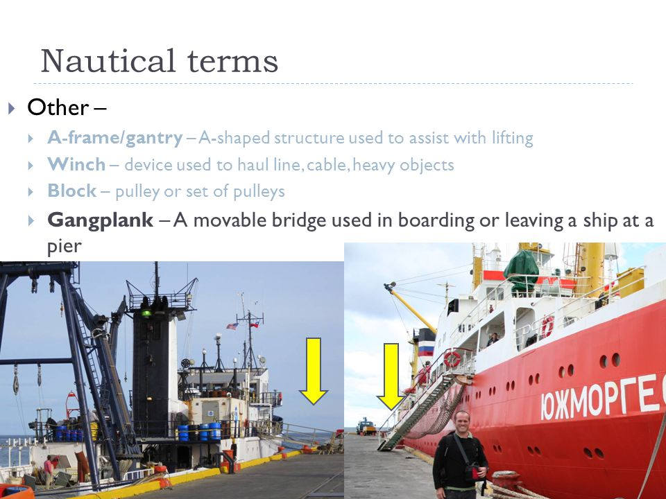 Nautical terms Other – A-frame/gantry – A-shaped structure used to assist with lifting. Winch – device used to haul line, cable, heavy objects.