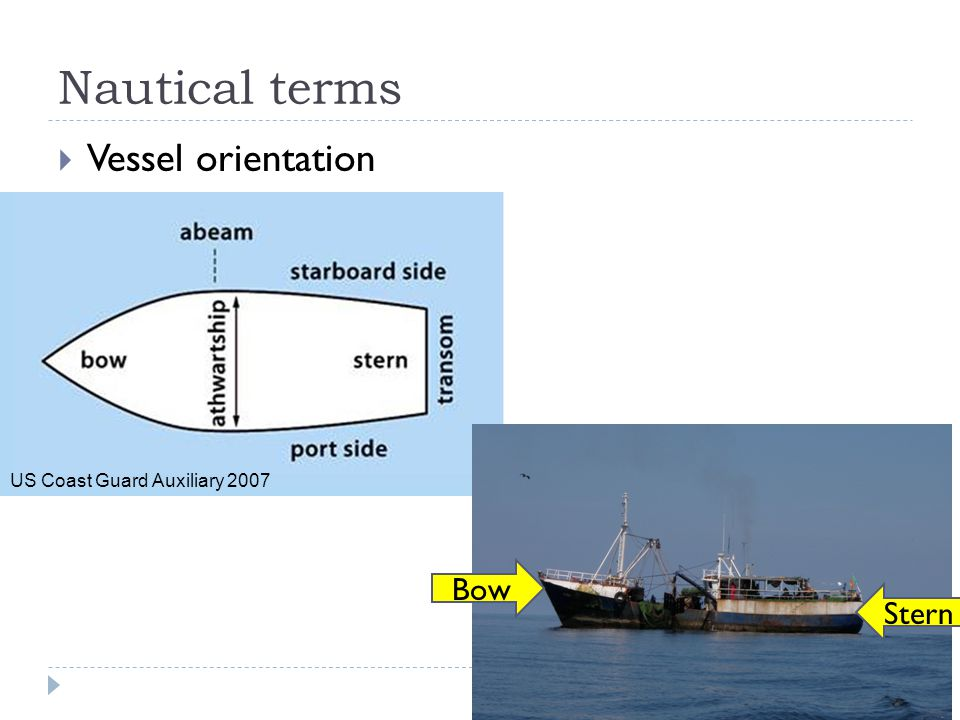 Nautical terms Vessel orientation Bow Stern