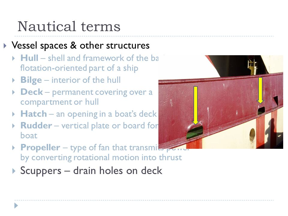 Nautical terms Scuppers – drain holes on deck