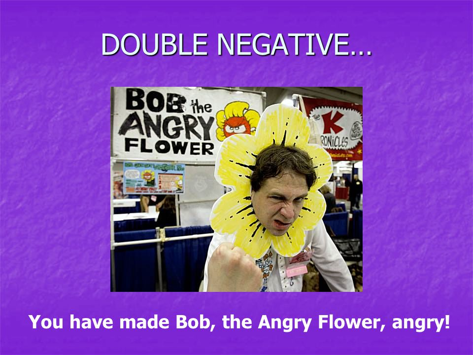 DOUBLE NEGATIVE… You have made Bob, the Angry Flower, angry!
