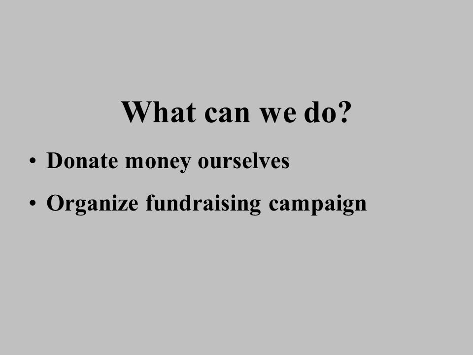 What can we do Donate money ourselves Organize fundraising campaign