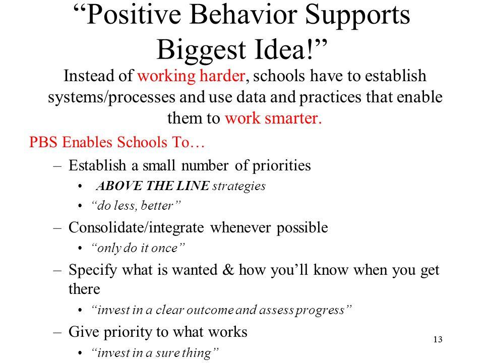 Positive Behavior Supports Biggest Idea!