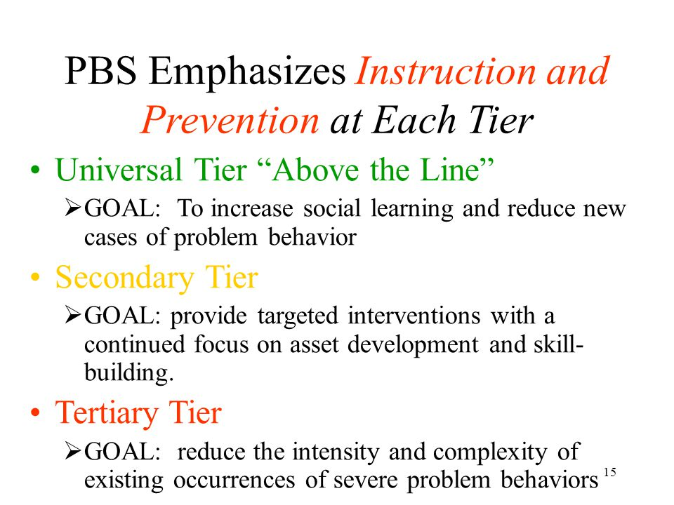 PBS Emphasizes Instruction and Prevention at Each Tier