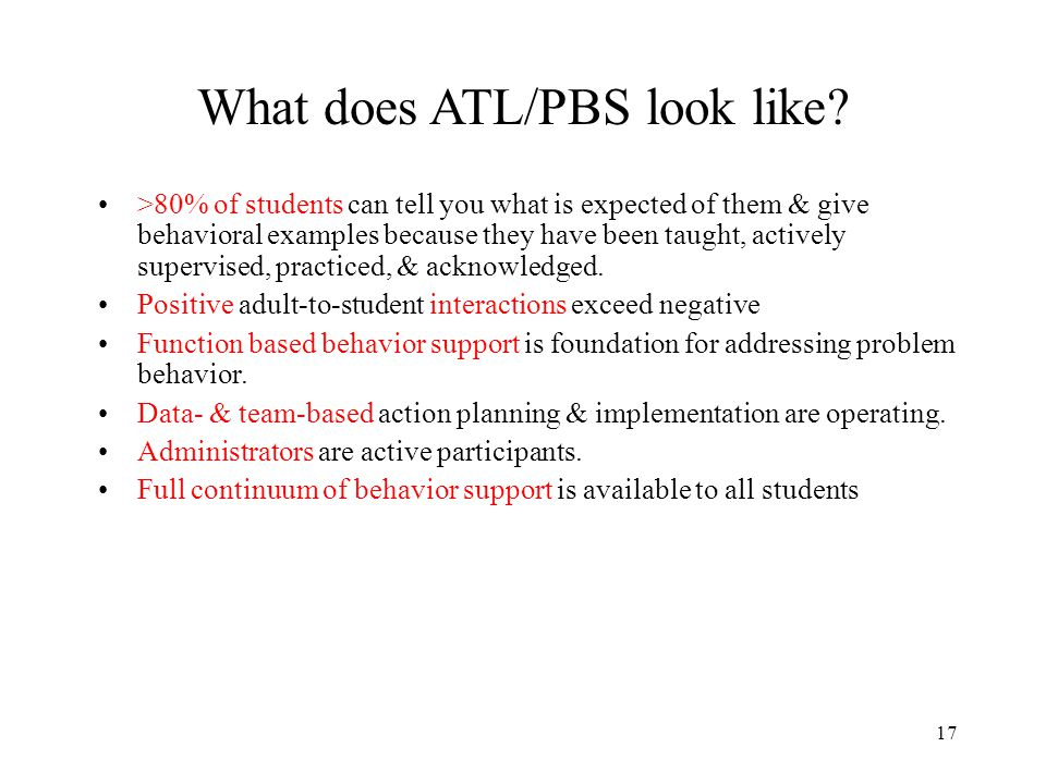 What does ATL/PBS look like