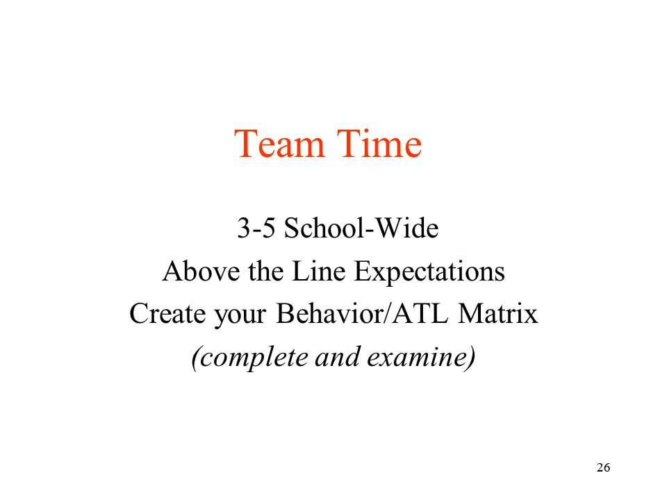 Team Time 3-5 School-Wide Above the Line Expectations