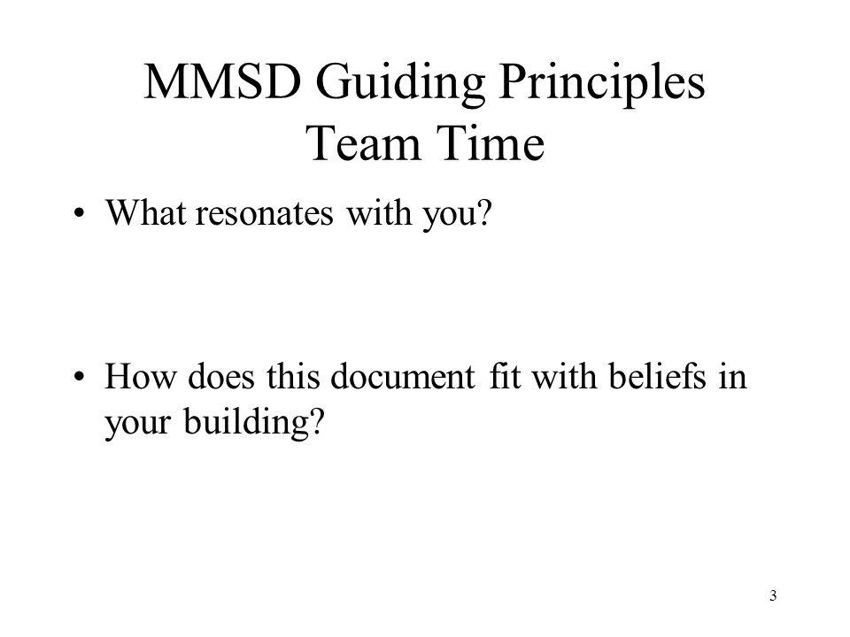 MMSD Guiding Principles Team Time