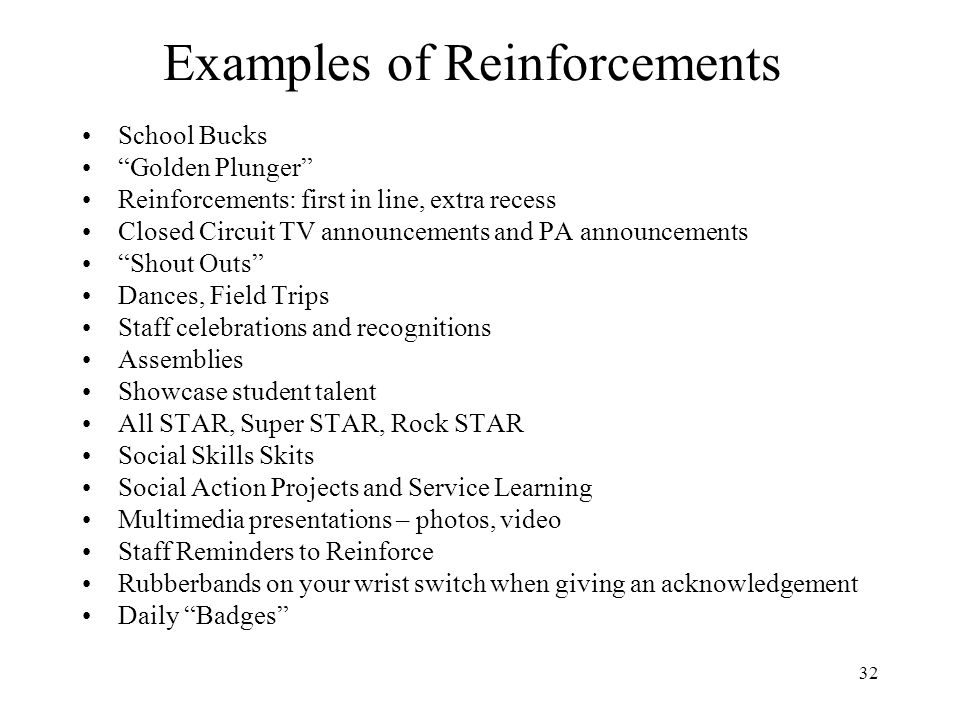 Examples of Reinforcements