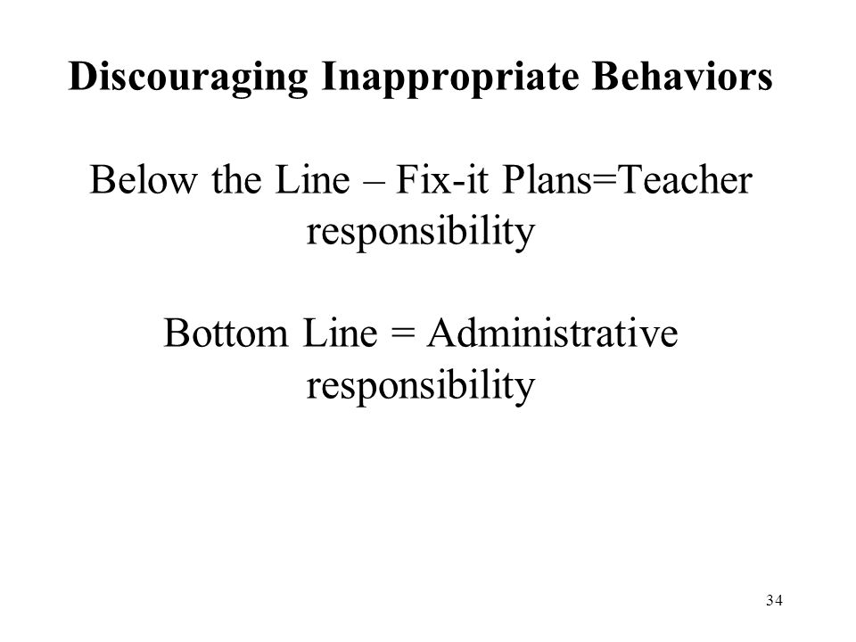 Discouraging Inappropriate Behaviors Below the Line – Fix-it Plans=Teacher responsibility Bottom Line = Administrative responsibility