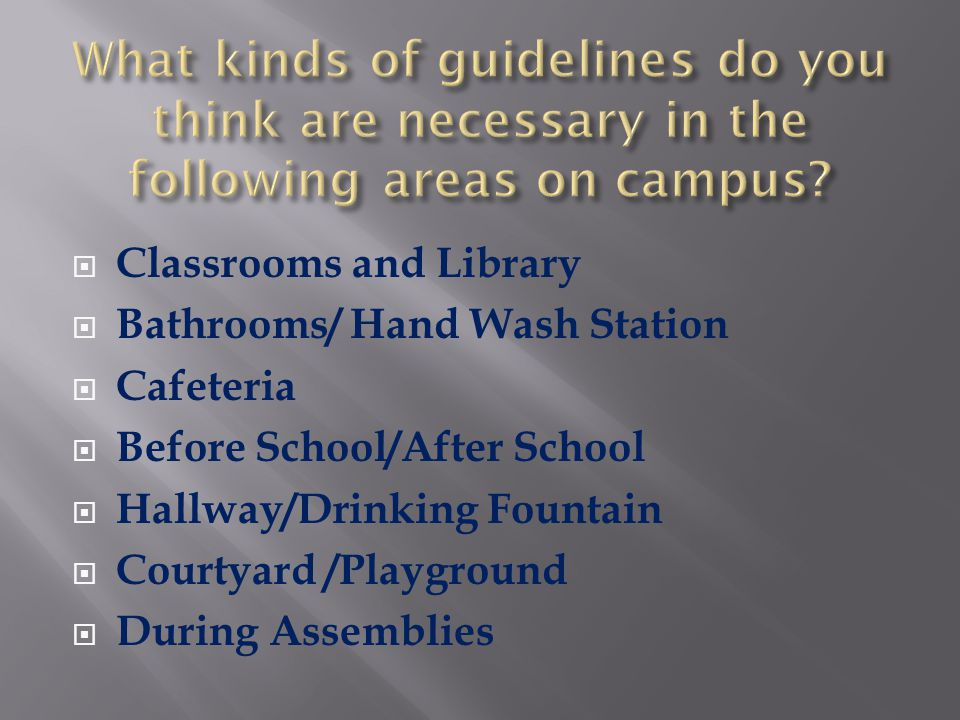 What kinds of guidelines do you think are necessary in the following areas on campus