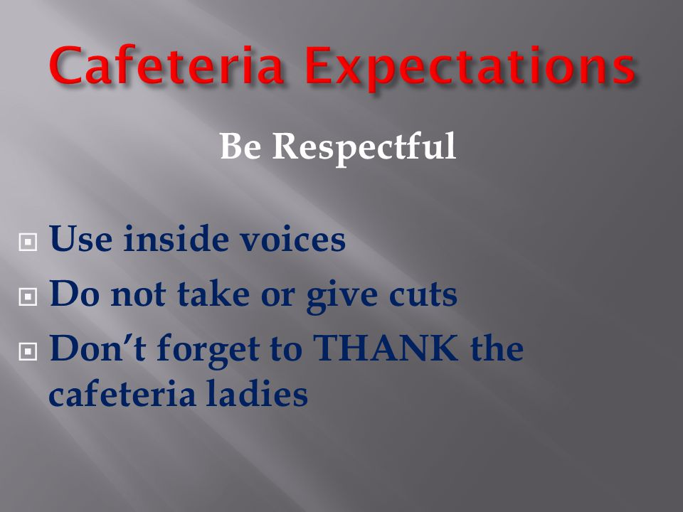 Cafeteria Expectations