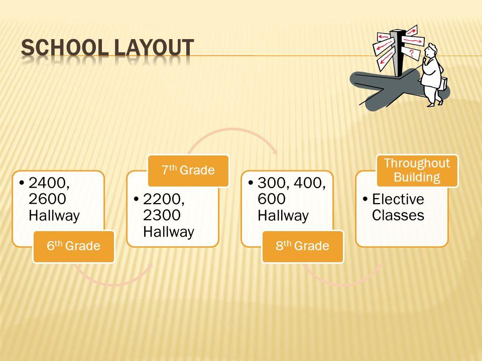 School Layout 2400, 2600 Hallway 2200, 2300 Hallway