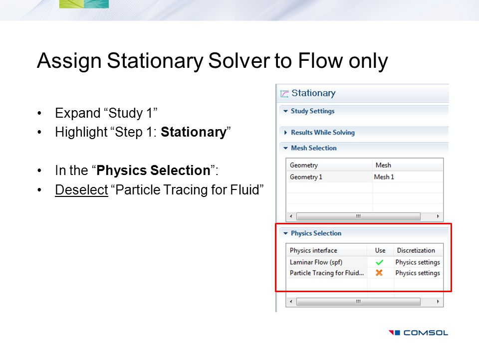 Assign Stationary Solver to Flow only