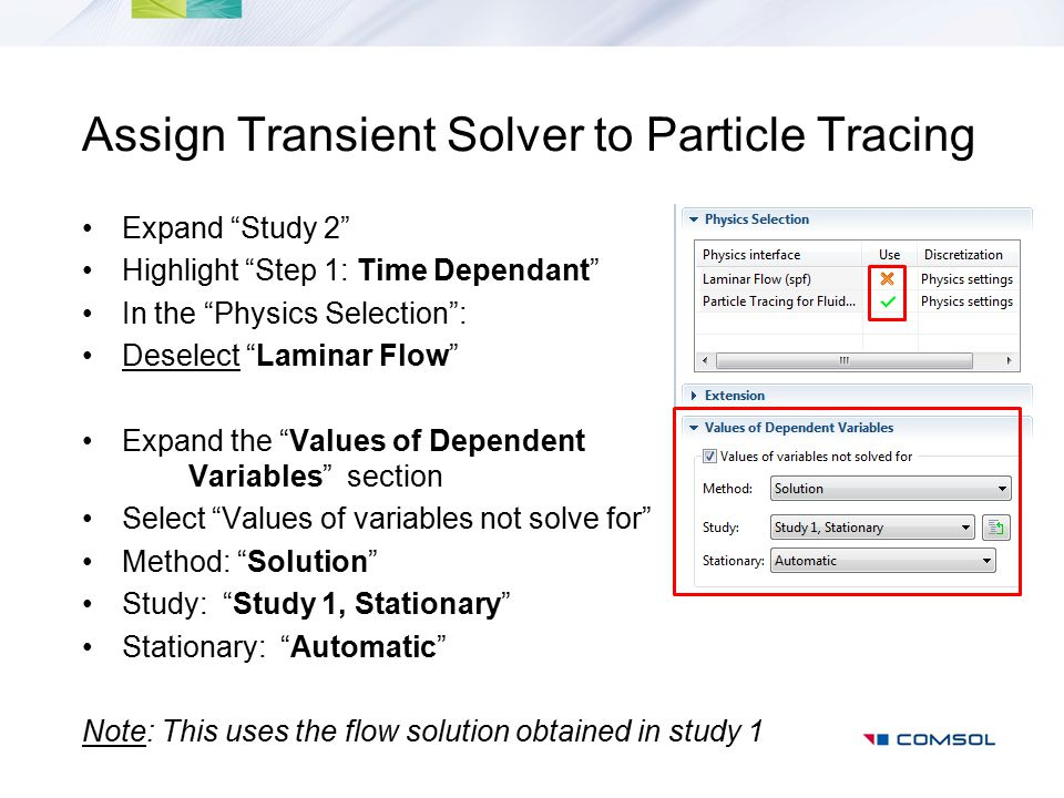 Assign Transient Solver to Particle Tracing