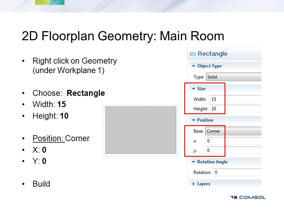 2D Floorplan Geometry: Main Room