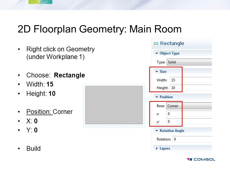 2D Floorplan Geometry: Main Room