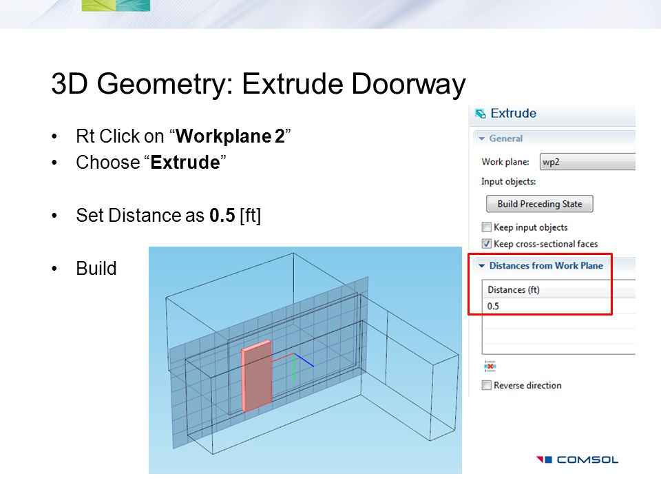 3D Geometry: Extrude Doorway