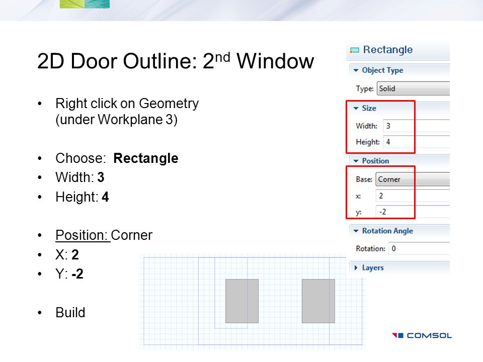 2D Door Outline: 2nd Window