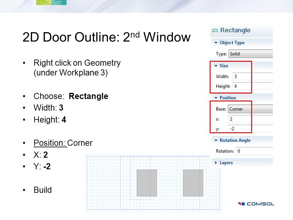 2D Door Outline: 2nd Window