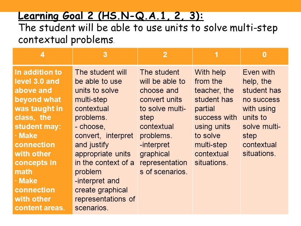 Learning Goal 2 (HS.N-Q.A.1, 2, 3):