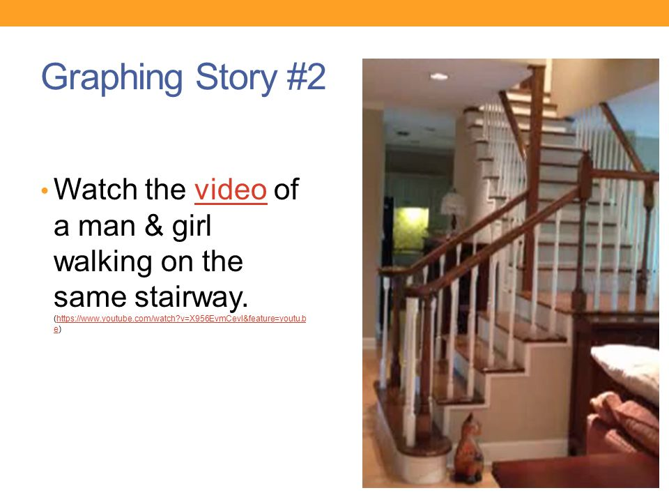 Graphing Story #2 Watch the video of a man & girl walking on the same stairway.