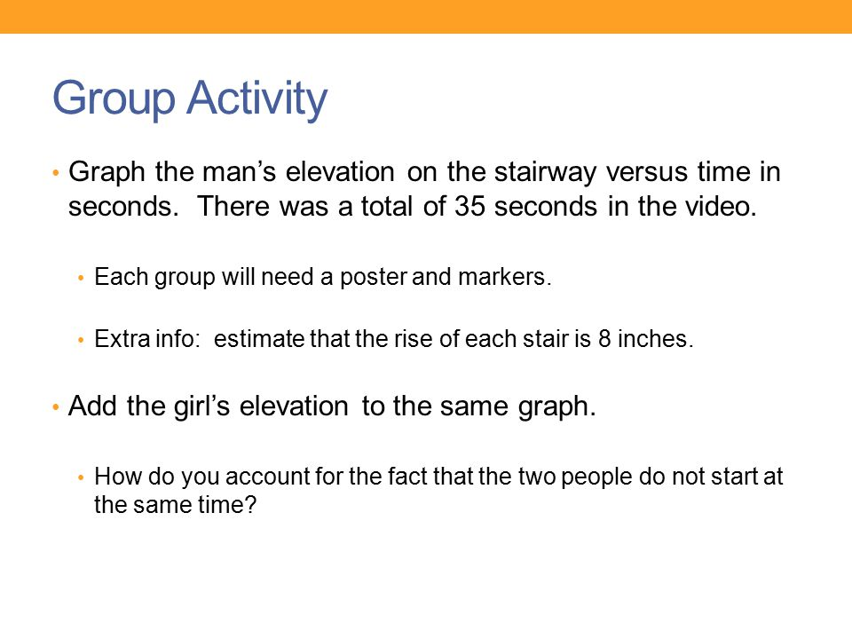 Group Activity Graph the man's elevation on the stairway versus time in seconds. There was a total of 35 seconds in the video.