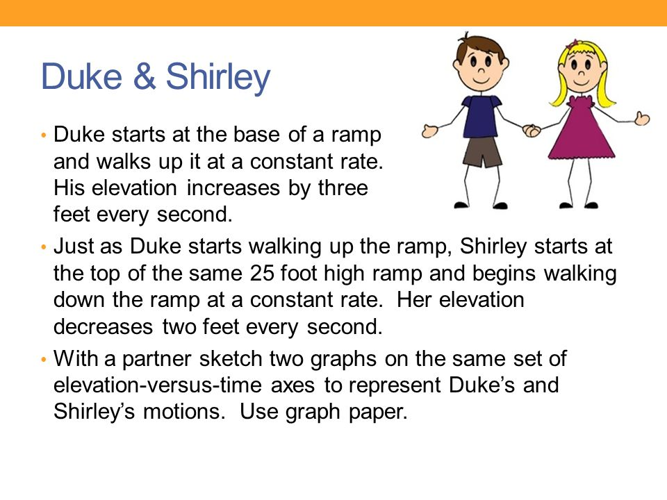 Duke & Shirley Duke starts at the base of a ramp and walks up it at a constant rate. His elevation increases by three feet every second.