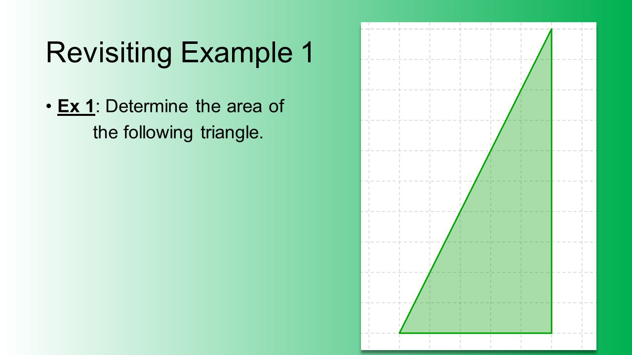 Revisiting Example 1 Ex 1: Determine the area of