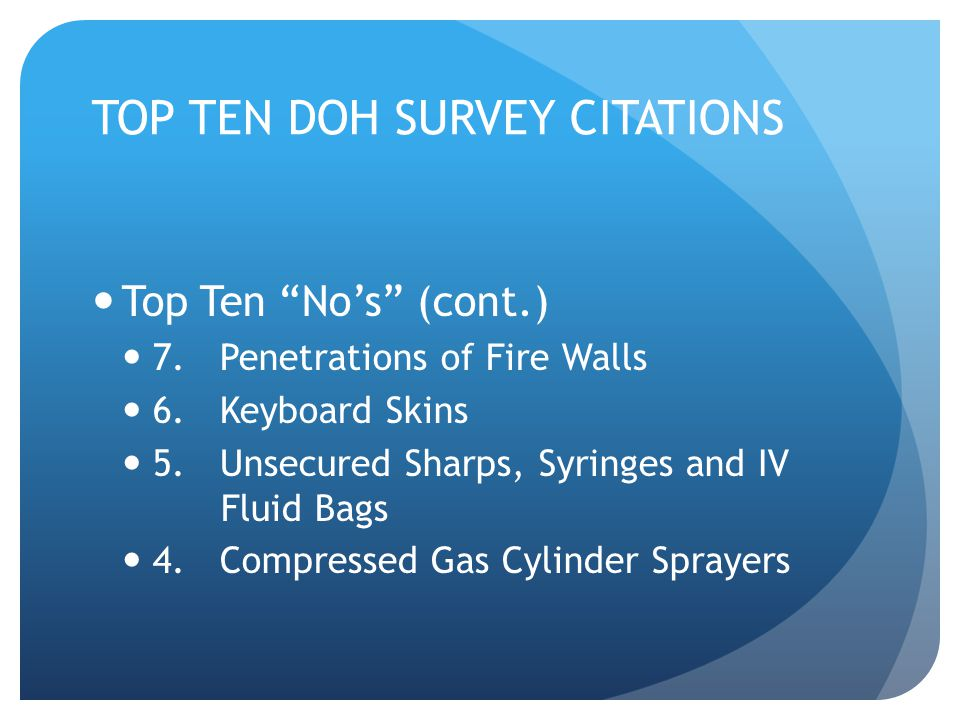 TOP TEN DOH SURVEY CITATIONS
