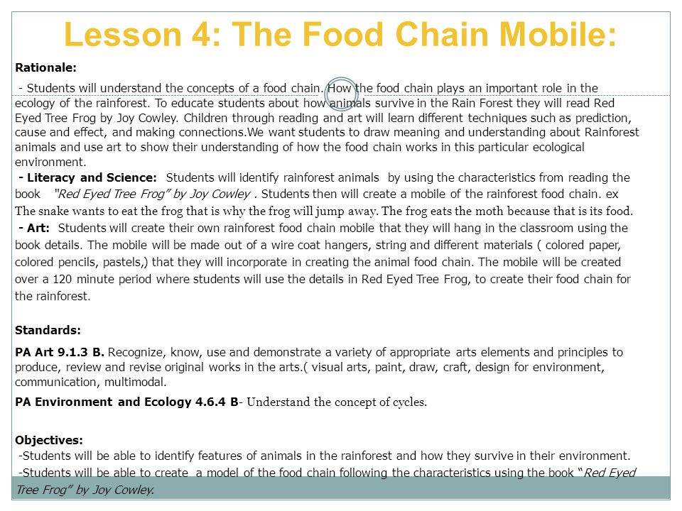 Lesson 4: The Food Chain Mobile: