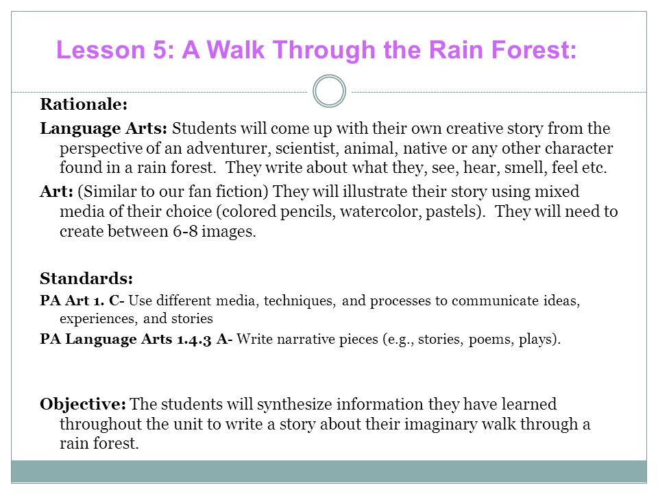 Lesson 5: A Walk Through the Rain Forest:
