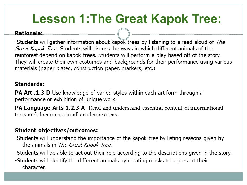 Lesson 1:The Great Kapok Tree: