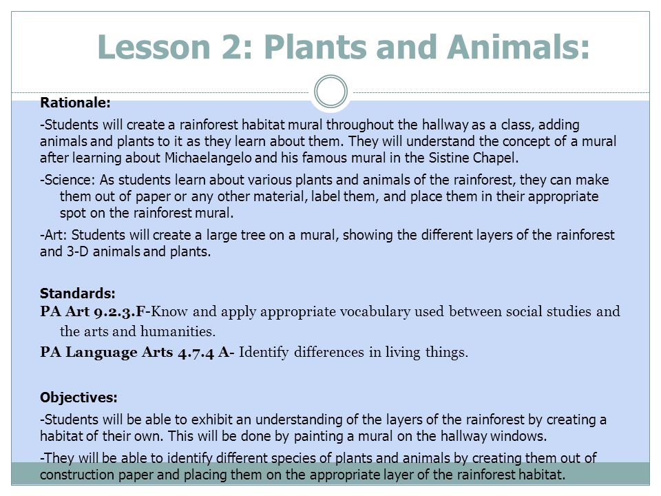 Lesson 2: Plants and Animals: