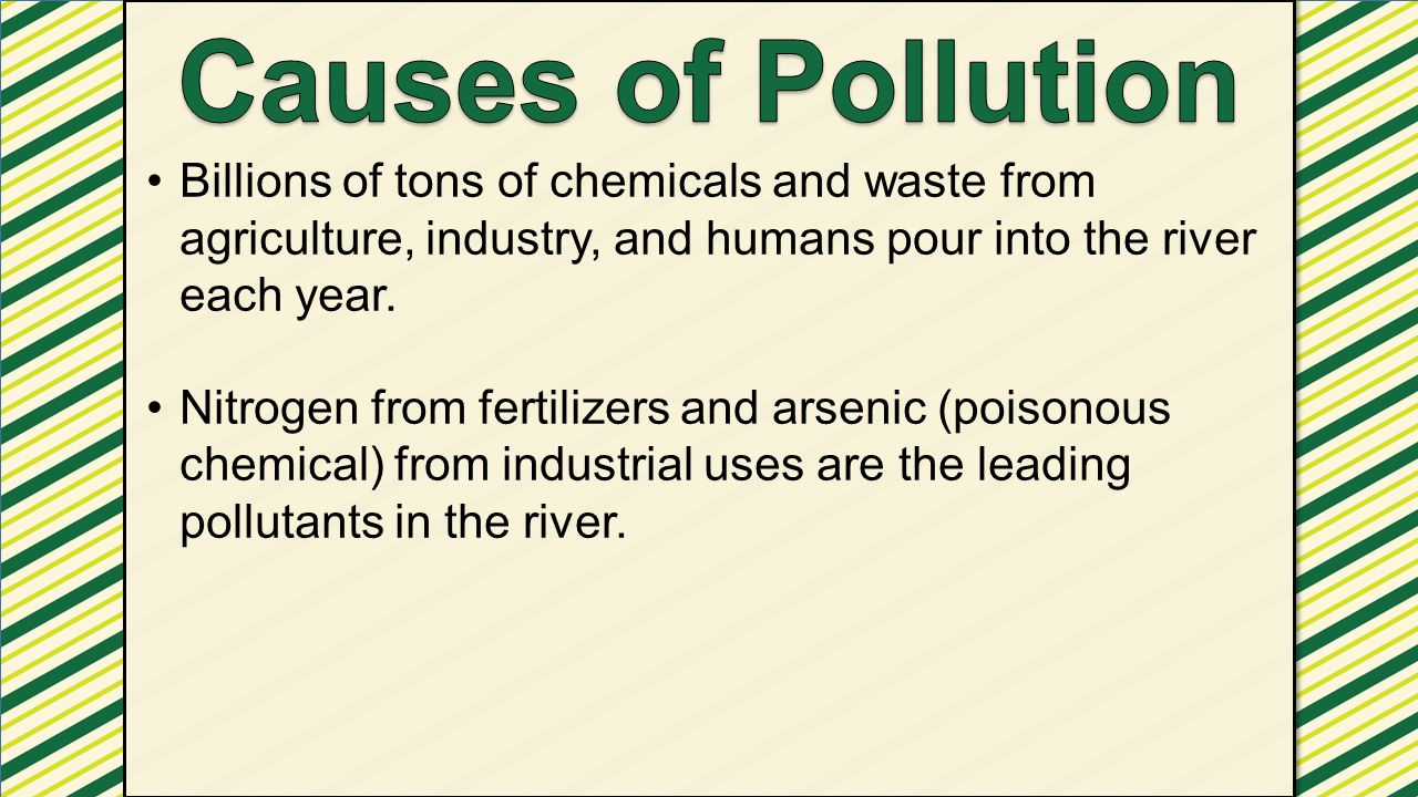 Causes of Pollution Billions of tons of chemicals and waste from agriculture, industry, and humans pour into the river each year.