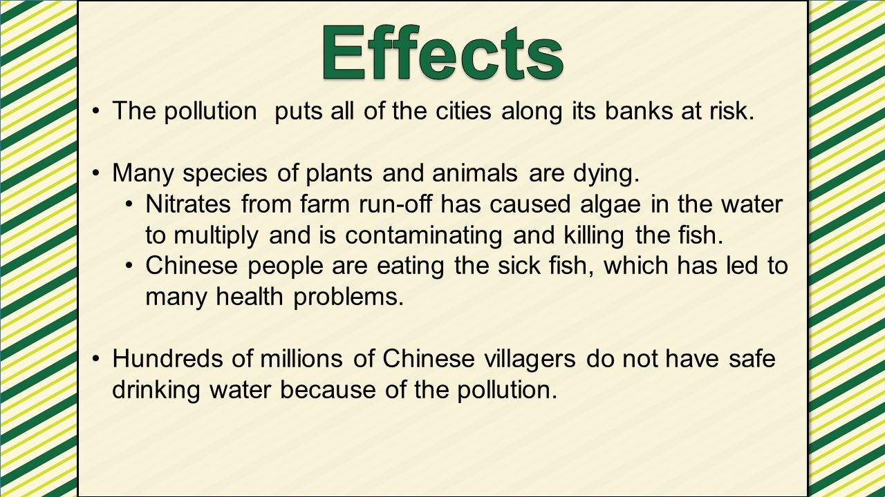 Effects The pollution puts all of the cities along its banks at risk.