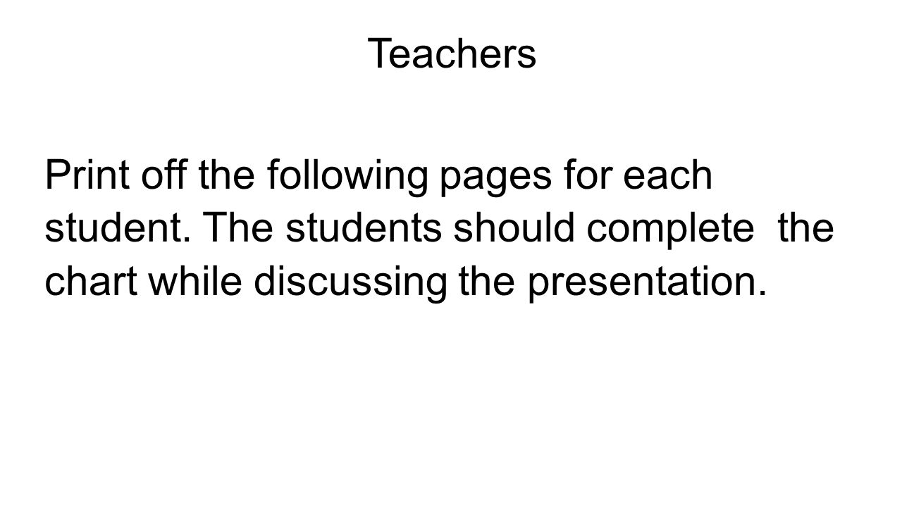 Teachers Print off the following pages for each student.