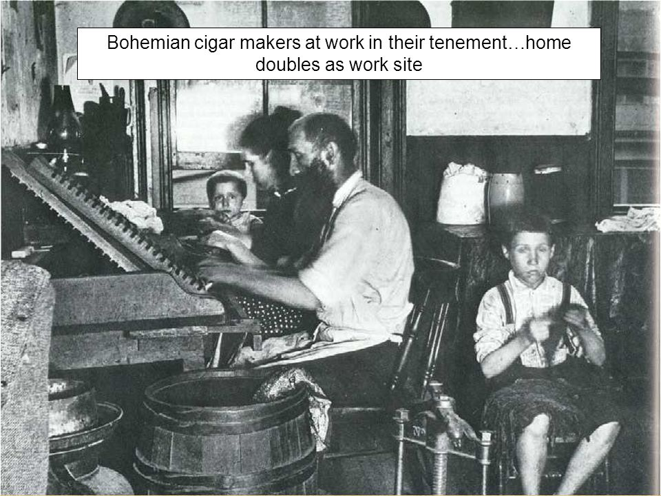 Bohemian cigar makers at work in their tenement…home doubles as work site