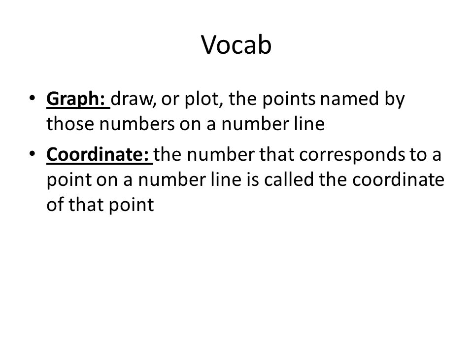 Vocab Graph: draw, or plot, the points named by those numbers on a number line.