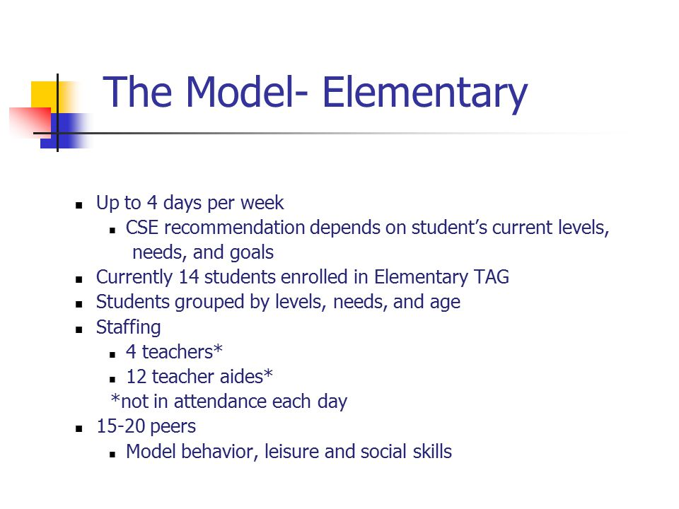The Model- Elementary Up to 4 days per week