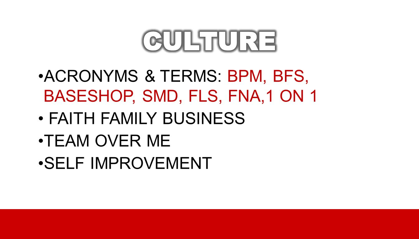 CULTURE ACRONYMS & TERMS: BPM, BFS, BASESHOP, SMD, FLS, FNA,1 ON 1