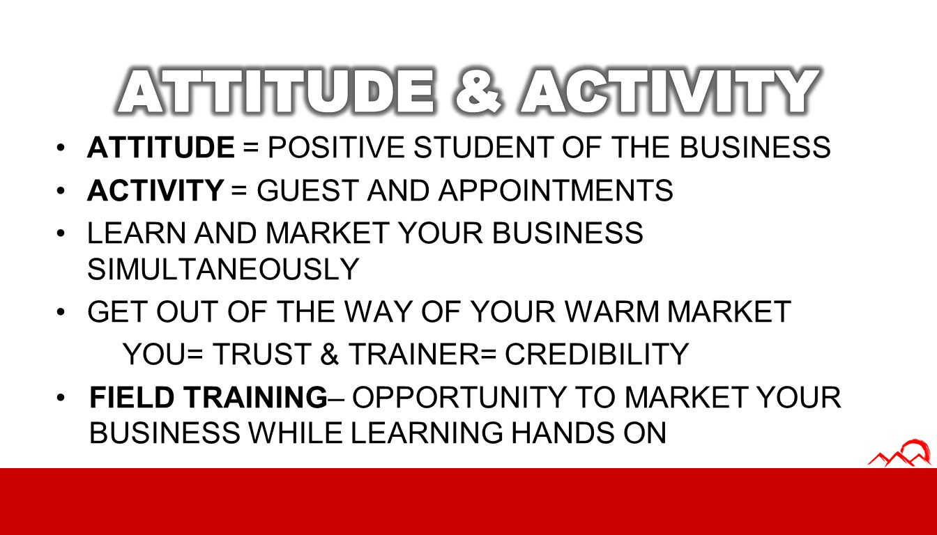 ATTITUDE & ACTIVITY ATTITUDE = POSITIVE STUDENT OF THE BUSINESS