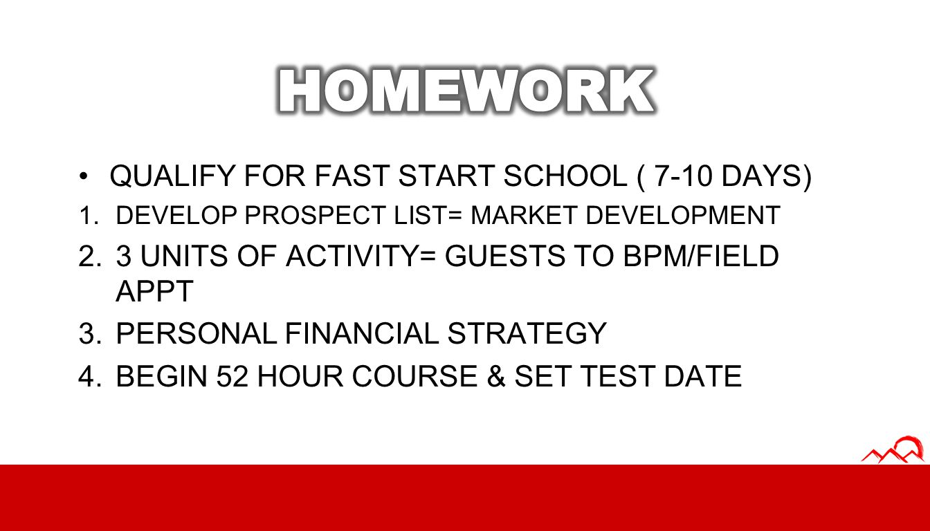 HOMEWORK QUALIFY FOR FAST START SCHOOL ( 7-10 DAYS)