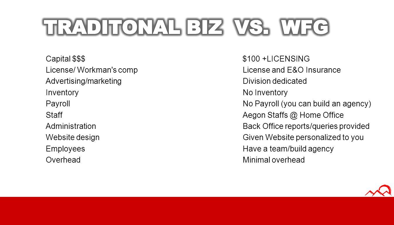 TRADITONAL BIZ VS. WFG Capital $$$ $100 +LICENSING
