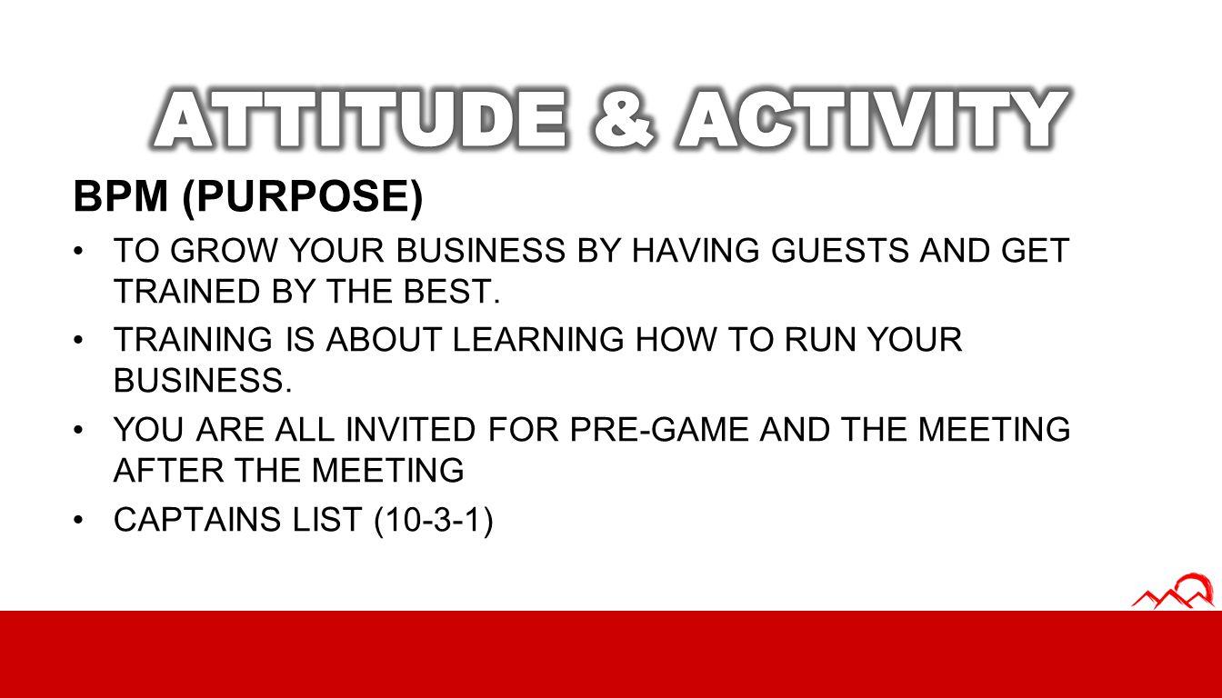 ATTITUDE & ACTIVITY BPM (PURPOSE)