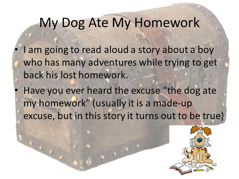 My Dog Ate My Homework I am going to read aloud a story about a boy who has many adventures while trying to get back his lost homework.