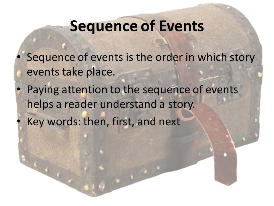 Sequence of Events Sequence of events is the order in which story events take place.