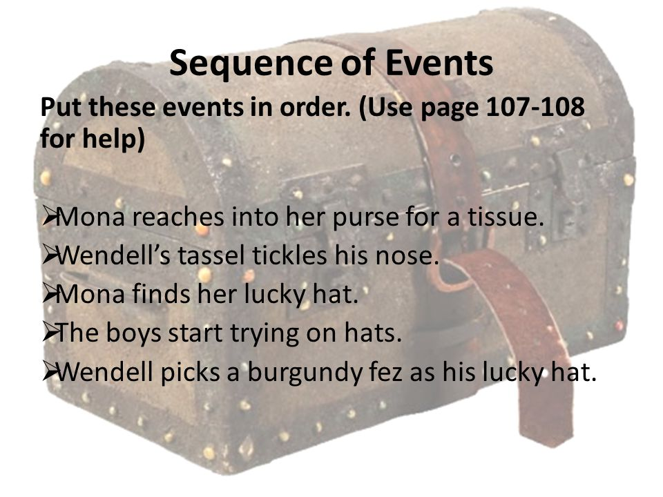 Sequence of Events Put these events in order. (Use page 107-108 for help) Mona reaches into her purse for a tissue.